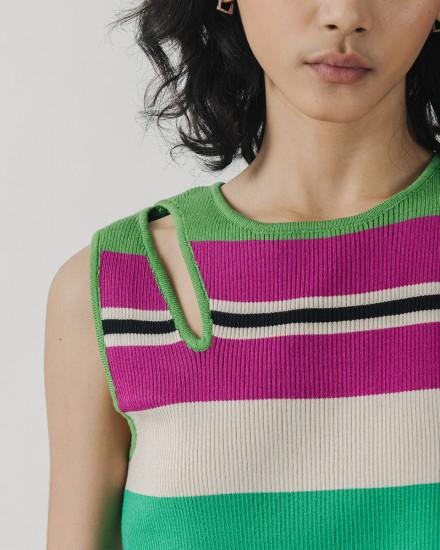 Stripe Cut Out Top